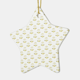 Gold Scales Of Justice on White Repeat Pattern Christmas Ornament