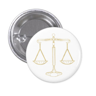 Gold Scales of Justice | Unique Gifts 3 Cm Round Badge