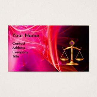 GOLD SCALES OF LAW,BLACK RED FRACTAL ROSE MONOGRAM BUSINESS CARD