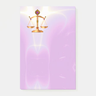 GOLD SCALES OF LAW Justice ,Ultra Violet Pink Post-it Notes