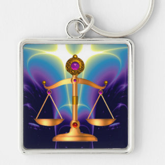GOLD SCALES OF LAW WITH GEM STONES ,Justice Symbol Key Chains