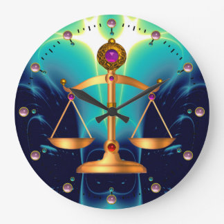 GOLD SCALES OF LAW WITH GEM STONES ,Justice Symbol Large Clock