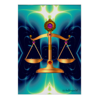 GOLD SCALES OF LAW WITH GEM STONES ,Justice Symbol Poster