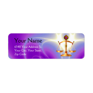 GOLD SCALES OF LAW WITH GEM STONES ,Justice Symbol Return Address Label