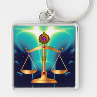 GOLD SCALES OF LAW WITH GEM STONES ,Justice Symbol Silver-Colored Square Key Ring