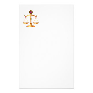 GOLD SCALES OF LAW WITH GEM STONES ,Justice Symbol Stationery