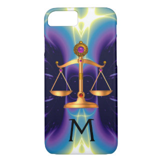 GOLD SCALES OF LAW WITH GEM STONES MONOGRAM iPhone 7 CASE