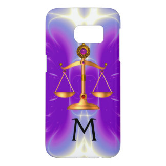 GOLD SCALES OF LAW WITH GEM STONES MONOGRAM Pink