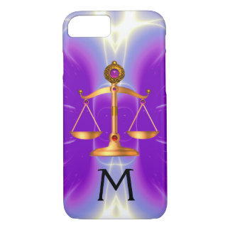 GOLD SCALES OF LAW WITH GEM STONES MONOGRAM Pink iPhone 7 Case
