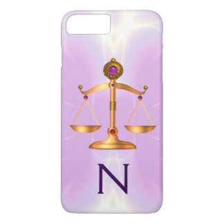 GOLD SCALES OF LAW WITH GEM STONES MONOGRAM Pink iPhone 7 Plus Case