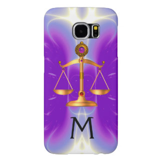 GOLD SCALES OF LAW WITH GEM STONES MONOGRAM Pink Samsung Galaxy S6 Cases