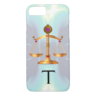 GOLD SCALES OF LAW WITH GEM STONES MONOGRAM Teal iPhone 7 Case