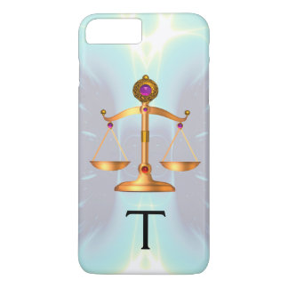 GOLD SCALES OF LAW WITH GEM STONES MONOGRAM Teal iPhone 7 Plus Case