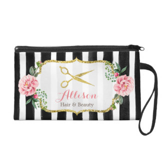 Gold Scissors Hair Salon Watercolor Floral Stripes Wristlet