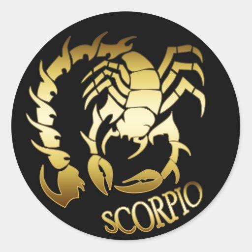 GOLD SCORPIO ROUND STICKER