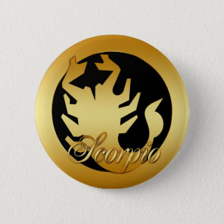 GOLD SCORPIO ZODIAC SIGN 6 CM ROUND BADGE