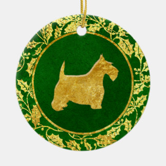 Gold Scottie Holly Green Round Ceramic Decoration