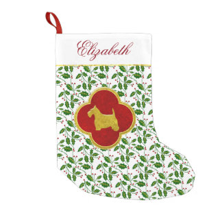 Gold Scottie Holly Personalize Small Christmas Stocking