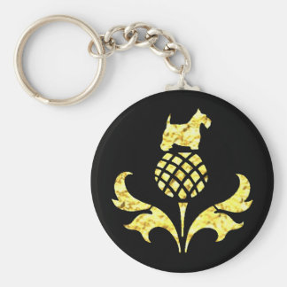 Gold Scottie Thistle Personalize Basic Round Button Key Ring