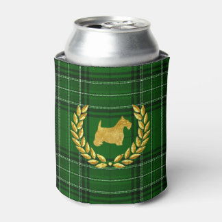 Gold Scottie & Wreath Green Plaid Can Cooler
