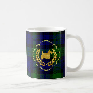 Gold Scottie & Wreath on Plaid Coffee Mug