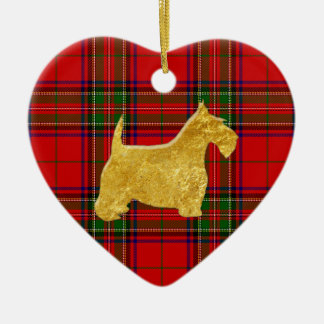 Gold Scottish Terrier Stewart Plaid Ceramic Heart Decoration