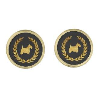 Gold Scottish Terrier & Wreath