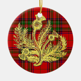 Gold Scottish Thistle on Plaid Christmas Ornament