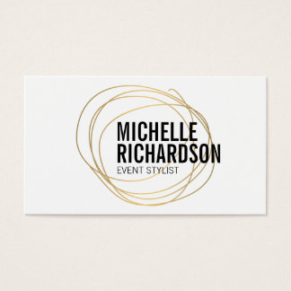 Gold Scribble with Bold Text Abstract Design