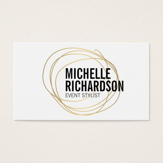 Gold Scribble with Bold Text Abstract Design Business