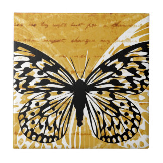 Gold script and butterfly tiles