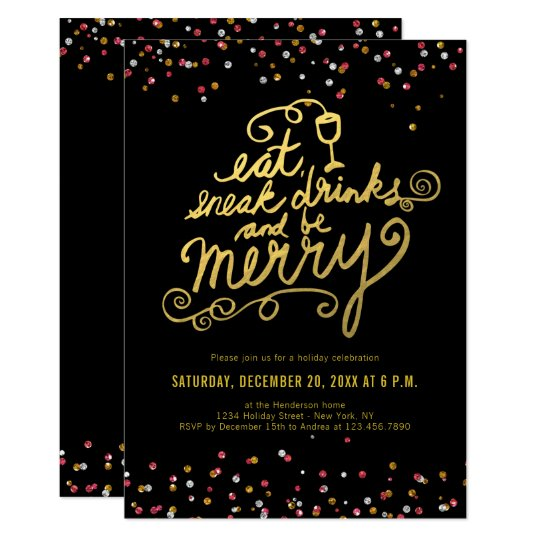 Gold Script Eat Drink Merry Confetti Holiday Party