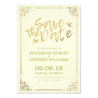 Gold Script Floral Frame Save The Date Wedding Card