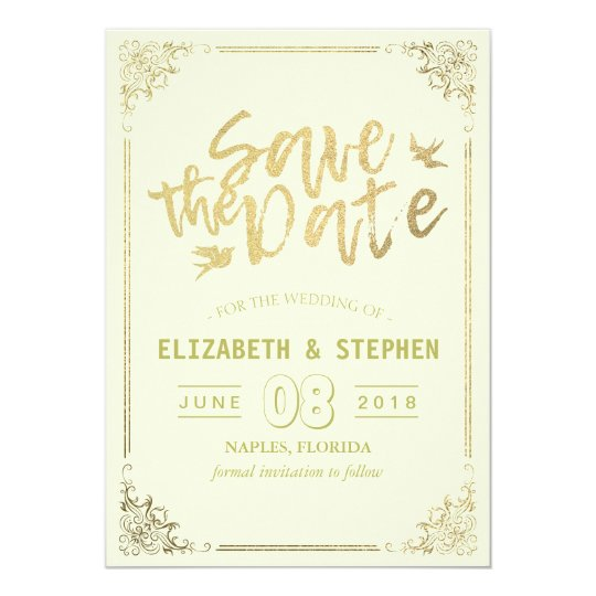 Gold Script Floral Frame Save The Date Wedding