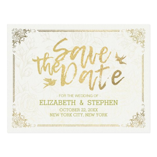 Gold Script Floral Frame Wedding Save The Date