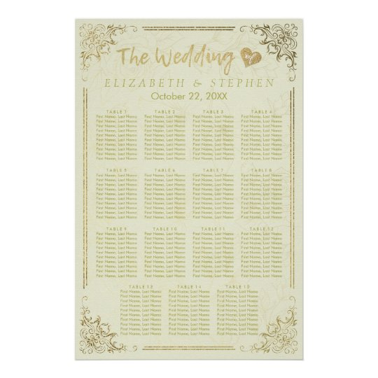 Gold Script Floral Frame Wedding Seating Chart