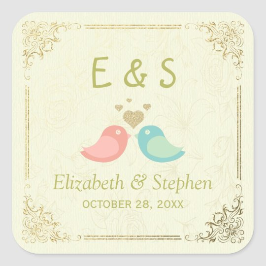 Gold Script Floral Frame Wedding Thank You Favour