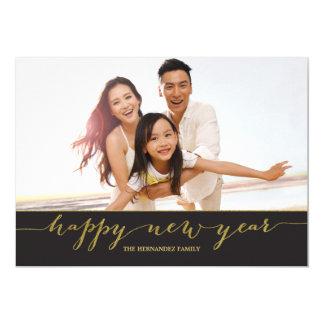 Gold Script Happy New Year Photo Card 13 Cm X 18 Cm Invitation Card