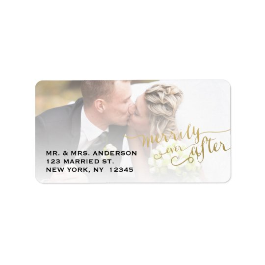 Gold Script Merrily Ever After   Holiday Photo Label