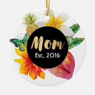 Gold Script Mom Tropical Floral Christmas Ornament