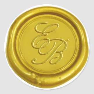 Gold Script Monogram Wax Seal Wedding Round Sticker