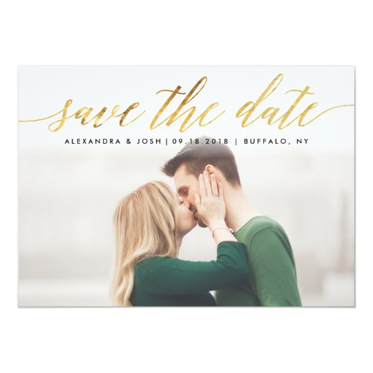 Gold Script Photo Save the Date in Faux
