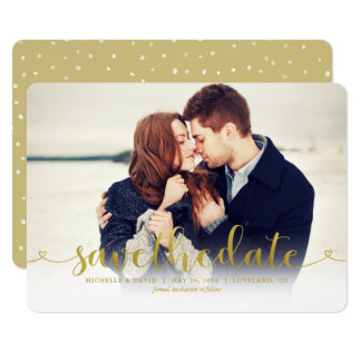 Gold Script Photo Wedding Save the Date Card