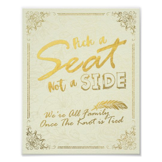 Gold Script Pick A Seat Not A Side
