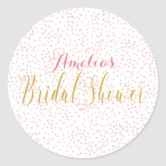 gold script pink dots round sticker