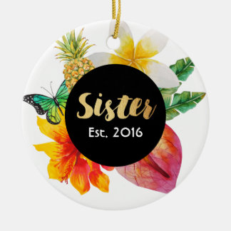 Gold Script Sister Tropical Floral Christmas Ornament