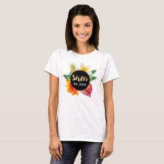 Gold Script Sister Tropical Floral T-Shirt