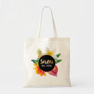 Gold Script Sister Tropical Floral Tote Bag