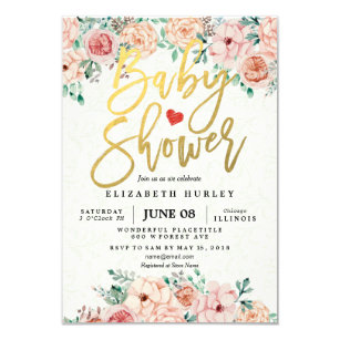 Baby shower invitations zazzle uk gold script watercolor floral baby shower invite filmwisefo