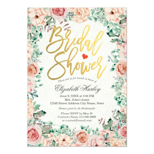 Gold Script Watercolor Floral Bridal Shower Invite